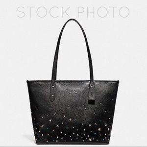 Coach Stardust Studded City Zip Tote